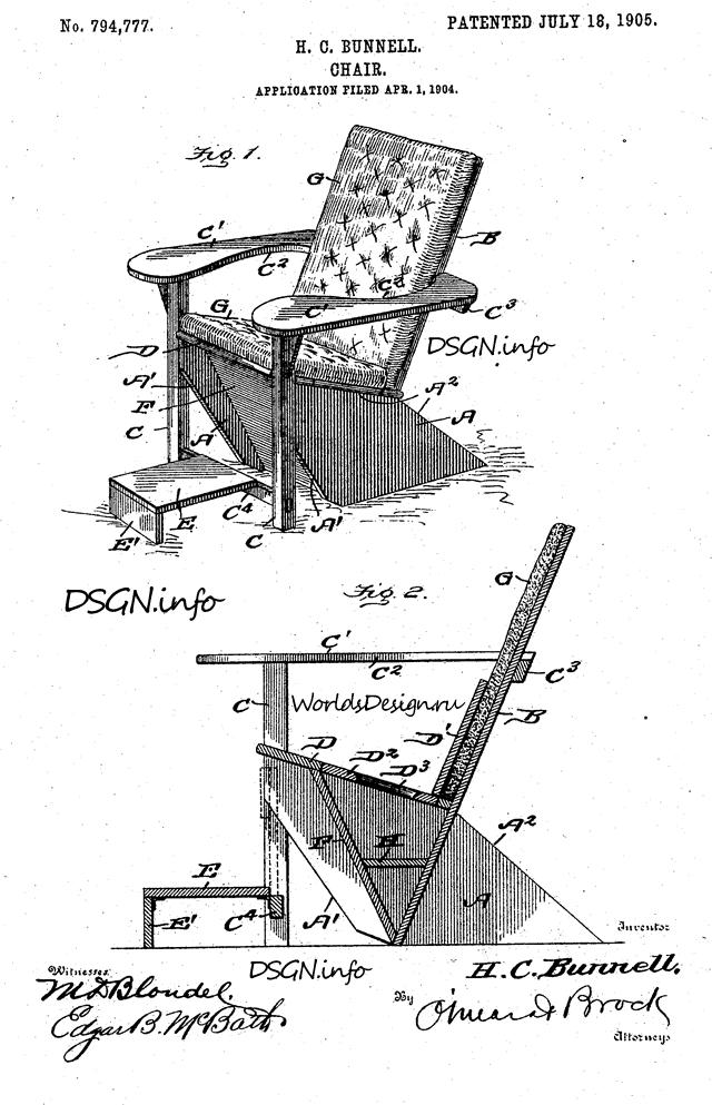Патент на кресло Гарри Баннелла